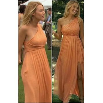 Blake Lively Orange One-shoulder Bridesmaid Dresses Prom Celebrity Dress Gossip Girl