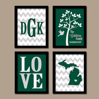 Michigan Family College Waco University Monogram State Couple Wedding Gift LOVE Bird Tree Established Date Set 4 Prints Wall Art