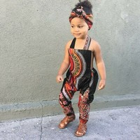 Toddler Kids Baby Girl African Print Sleeveless Romper Headband Jumpsuit Clothes