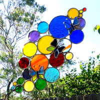 Butterfly Suncatcher Rainbow Bubbles Colorful Circles Stained Glass Mom Gift Housewarming Home Decor Garden Decoration Custom Glass Art