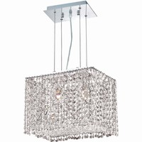 "Moda 14"" L Chandelier, Chrome Finish, Clear Crystal, Elegant Cut"