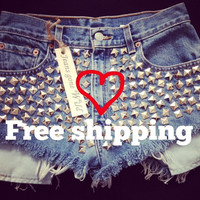 New High waist denim shorts super frayed with and super silver studded all sizes by Jeansgonewild