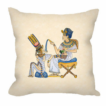 Egyptian Art Throw Pillow with King Tutankhamun and Queen Ankhesenamun