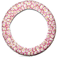 Daisy Pink Steering Wheel Cover,Cute Girly Cotton Car Wheel Cover, Made in USA,Custom Car Accessory,Electric Daisy Carnival