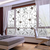 Fashion Sweet 45x100cm Frosted Cover Glass Window Door Black Flower Sticker Film Adhesive Home Office Decor