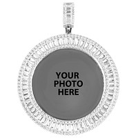 Round Baguette Icy Custom Picture Gift Memory Pendant