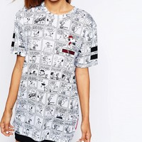 Criminal Damage Oversized Boyfriend T-Shirt With Snoopy Comic Strip Print & Varsity Number Back