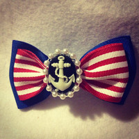 Red white and blue rockabilly anchor bow