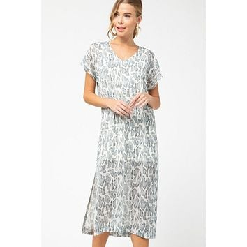 Dare To Dazzle Grey Snake Print Maxi Dress