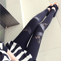 Free Shipping 2016 Hot Fashion Leggins Triangular Lace PU Leather Leggings Skinny Stretch Pants for Spring Summer