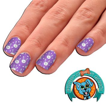 Purple Bunny and Hearts Easter Nail Art Decal Wraps