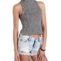 Ribbed High-Low Mock Neck Top by Charlotte Russe