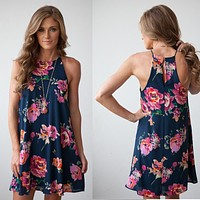2020 New Women's Chiffon Digital Print Sleeveless Flower Dress