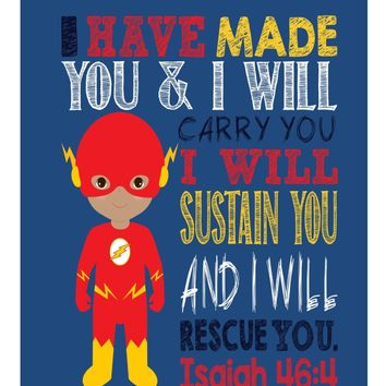 African American Flash Superhero Nursery Print - I have made you and I will rescue you - Isaiah 46:4