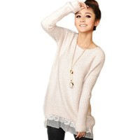Etosell Casual Womens Long Sleeve Blouse Lace Hem Knit Pullover Sweater Tops