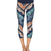 Blue & Orange Geometric Grace Capri Leggings