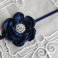 Custom Colors Navy Blue Satin Flower Headband Handmade by Santeen Creations Baby Headband