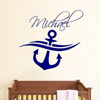 Wall Decals Vinyl Decal Sticker Marine Interior Design Art Mural Kids Custom Personalized Name Boy Room Anchor Nursery Decor Kg878