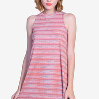 Alyona Striped Tent Dress - Coral