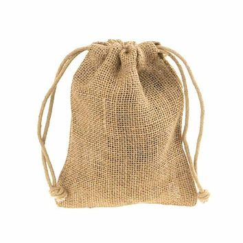 Burlap Favor Bags with Drawstrings, 12-Piece, 5-Inch x 7-Inch