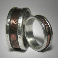 Rustic wedding band set - Custom mixed metal textured wedding band set - copper and silver industrial wedding bands