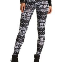 Cotton Fair Isle Printed Leggings by Charlotte Russe - Black/White