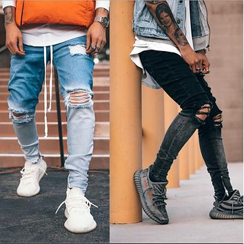 2020 new men's fashion denim pants with ripped zipper