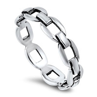 925 Sterling Silver Chain Links Ring