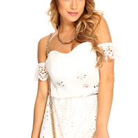 White Embroidered Eyelet Scallop Trim Off Shoulder Sexy Summer Romper