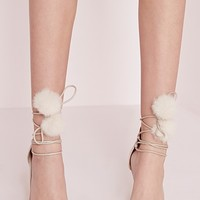 Missguided - Pom Pom Lace Up Court Shoes Nude