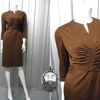 Vintage 60s Brown Dress by MARCUSA Ruched Bust Three Quarter Sleeve 1960s Dress Wiggle Dress Keyhole Dress Mad Men Office Chocolate Brown
