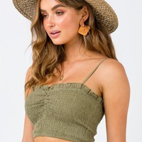 The Jamie Crop Top Khaki | Princess Polly