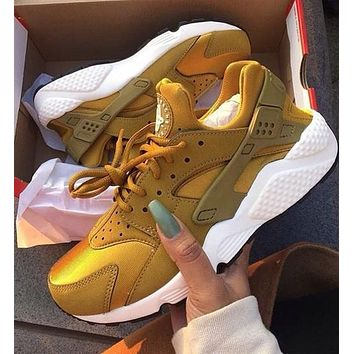 Nike Air Huarache New Fashion Sneakers Women Men Casual Running Sport Shoes Golden