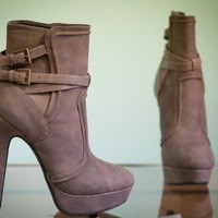 Wild Rose Gilly-27 Buckle Mid Calf Stiletto Platform Boot (Taupe) - Shoes 4 U Las Vegas