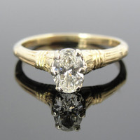 Beautiful Filigree Antique Oval Diamond Engagement Ring RGDI248D