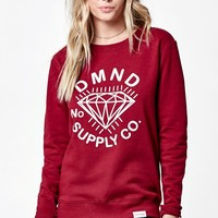 Diamond Supply Co Jeweled Crew Neck Sweatshirt - Womens Hoodie - Red