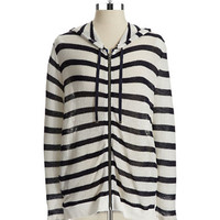 Two By Vince Camuto Striped Knit Zip Up