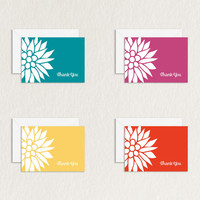 Bright Floral 4 Bar Printable Thank You Card in Four Colors (Solid Background) / Floral Stationery