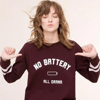"""""""No Battery """"Letter Print Long Sleeve Sweater B0014032"""