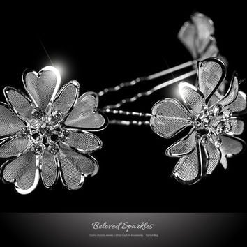 Orlina Large Mesh Flower Hair Stick Pin | Rhinestone