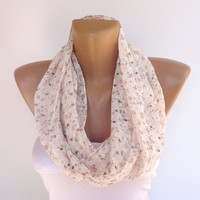 floral print ivory brown beige infinity scarf , loop scarf , cute eternity scarf , perfect for spring summer seasons , chiffon fabric scarf