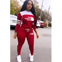 THE NORTH FACE Women Fashion Long Sleeve Top Pants Set Two-Piece red