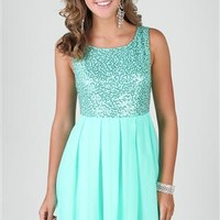 chiffon dress with sequin bodice and box pleat skirt