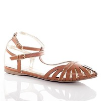 Breckelles Locked Up Caged Ankle Strap Sandals - Tan