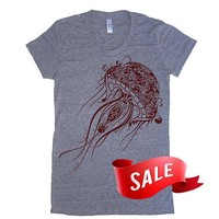 Womens Large On Sale - Jellyfish T Shirt Jellyfish Graphic Shirt Valentines Day Gift Ideas For Her Nautical Shirt Tri Blend T Shirt