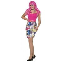 Pop Art Comic Book Pencil Skirt Costume Halloween Fancy Dress