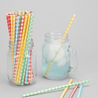 Plaid Paper Straw Set - Urban Outfitters