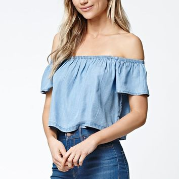 LA Hearts Chambray Off-The-Shoulder Top - Womens Shirts - Blue
