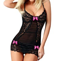 Women Sexy Mesh Lace Bow Dress Lingerie