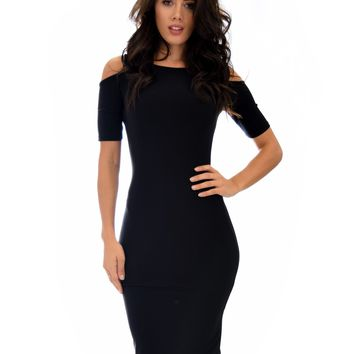 Love Me Completely Cold Shoulder Bodycon Midi Dress